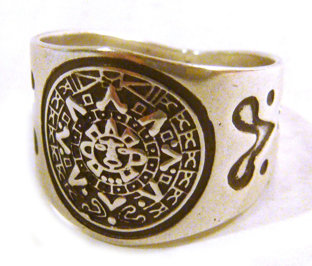 taxco 925 sterling silver unique aztec calendar ring from