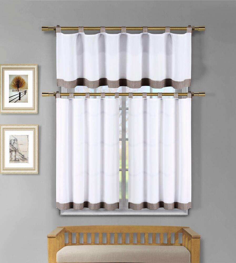 Kitchen Window Curtains: 3 Pc White Kitchen Window Curtain Set: Brown Check Design