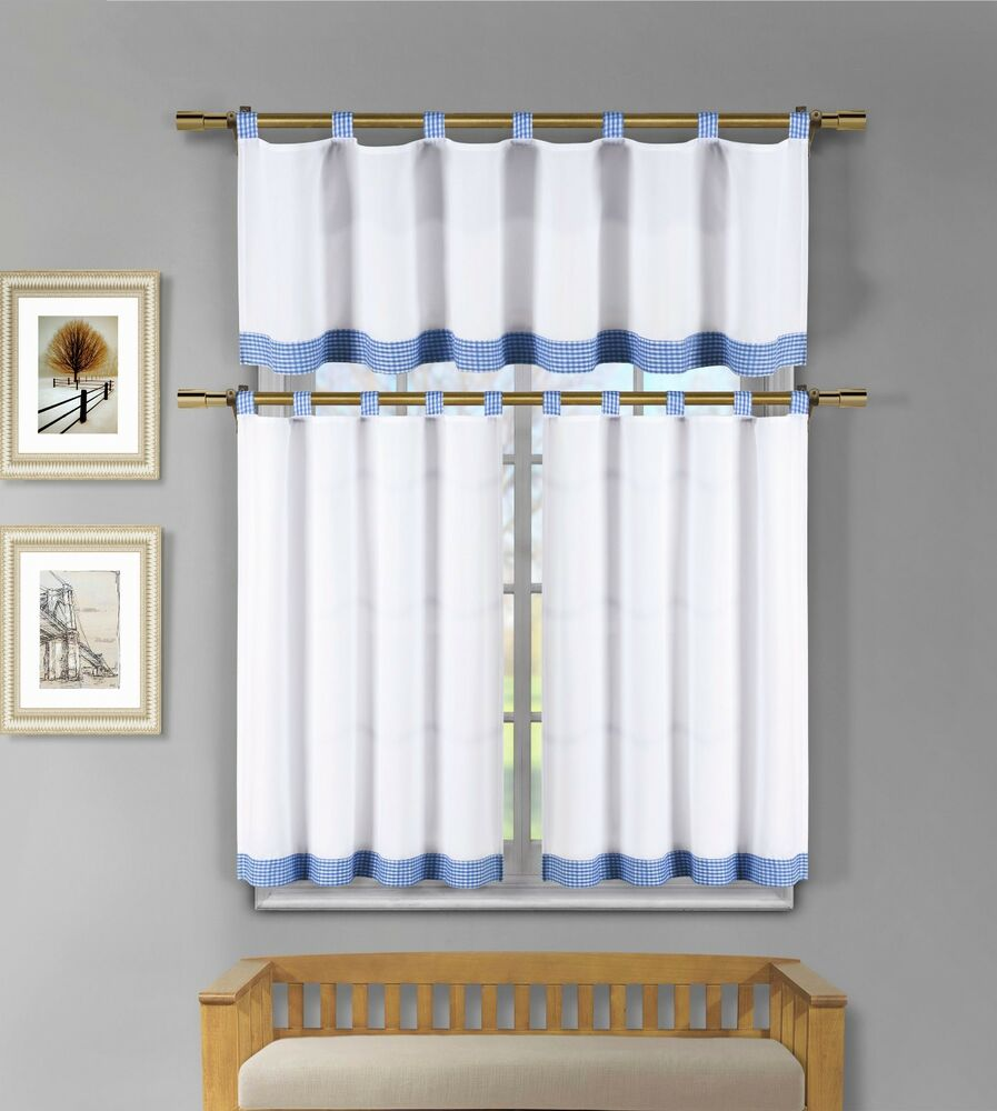 3 pc white kitchen window curtain set blue check design for 3 window curtain design