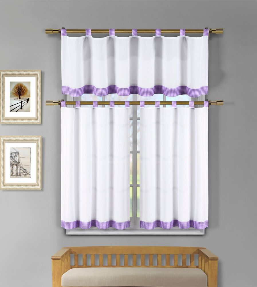 3Pc White Kitchen Window Curtain Set: Lilac Purple Check