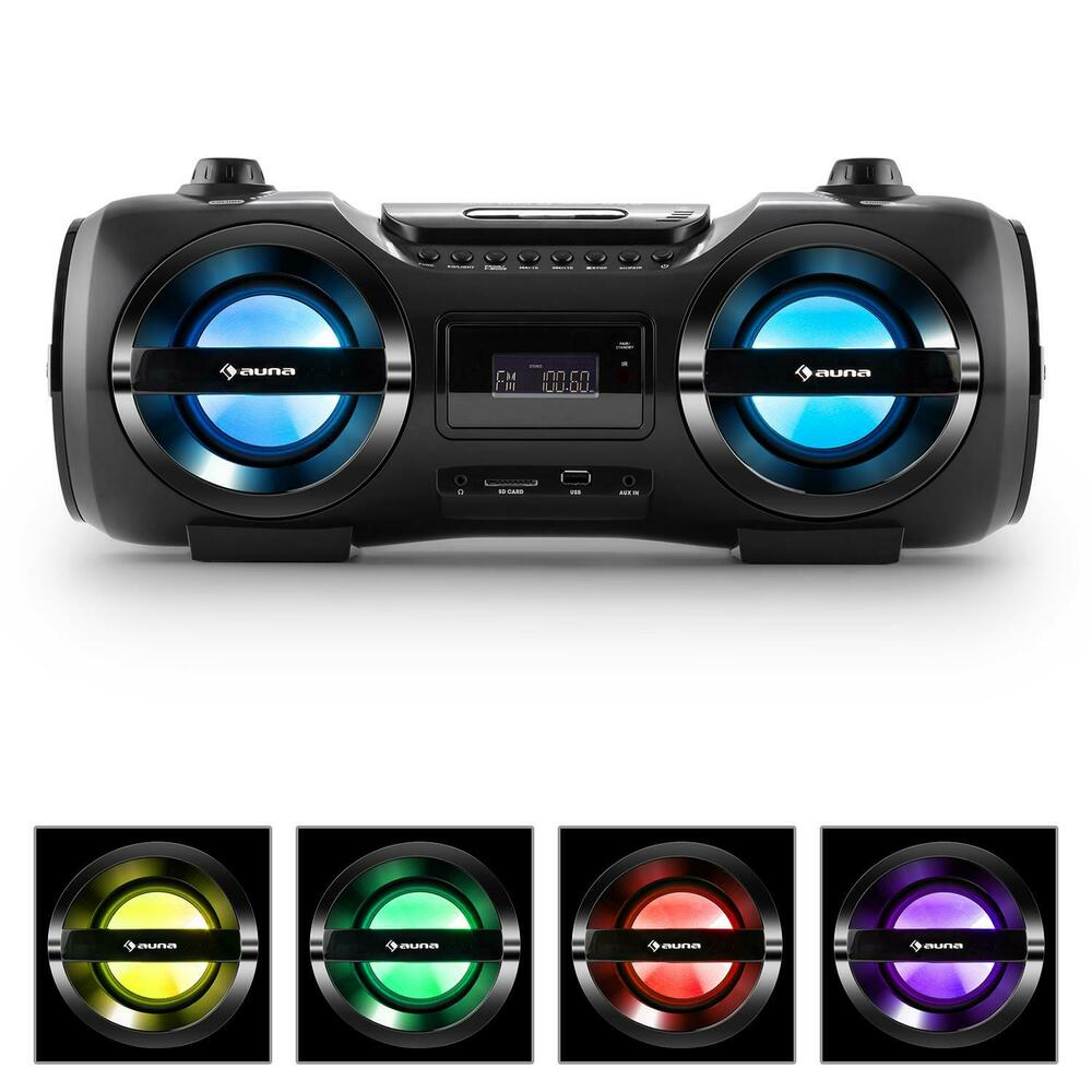 stereo anlage bluetooth 3 0 boom box cd usb mp3 player ukw. Black Bedroom Furniture Sets. Home Design Ideas
