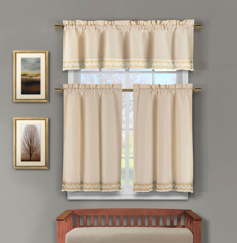 Linen Kitchen Window Curtain Set Crochet Taupe and Linen Accent ...