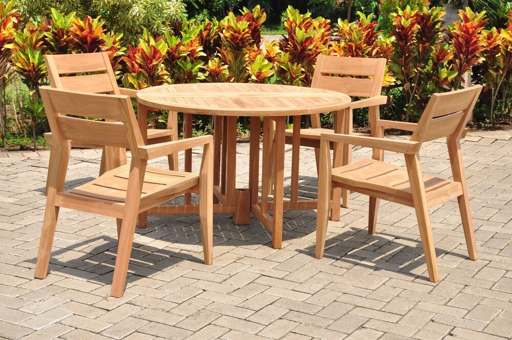 5 Pc Outdoor Dining Teak Set 48 Quot Butterfly Folding Table