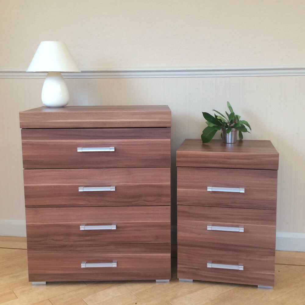 Walnut Effect 4 Drawer Chest 3 Drawer Bedside Cabinet Bedroom Furniture Set Ebay