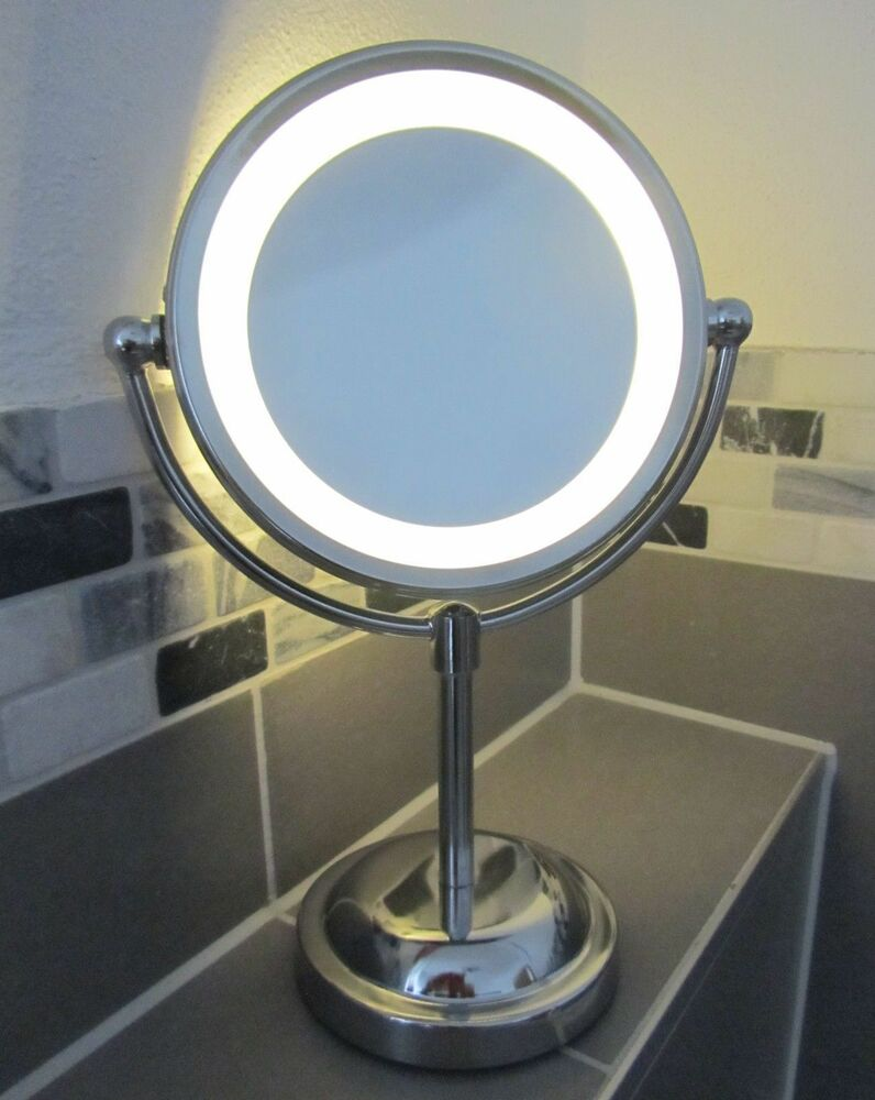 5 x magnifying round led illuminated bathroom make up for Long stand up mirror