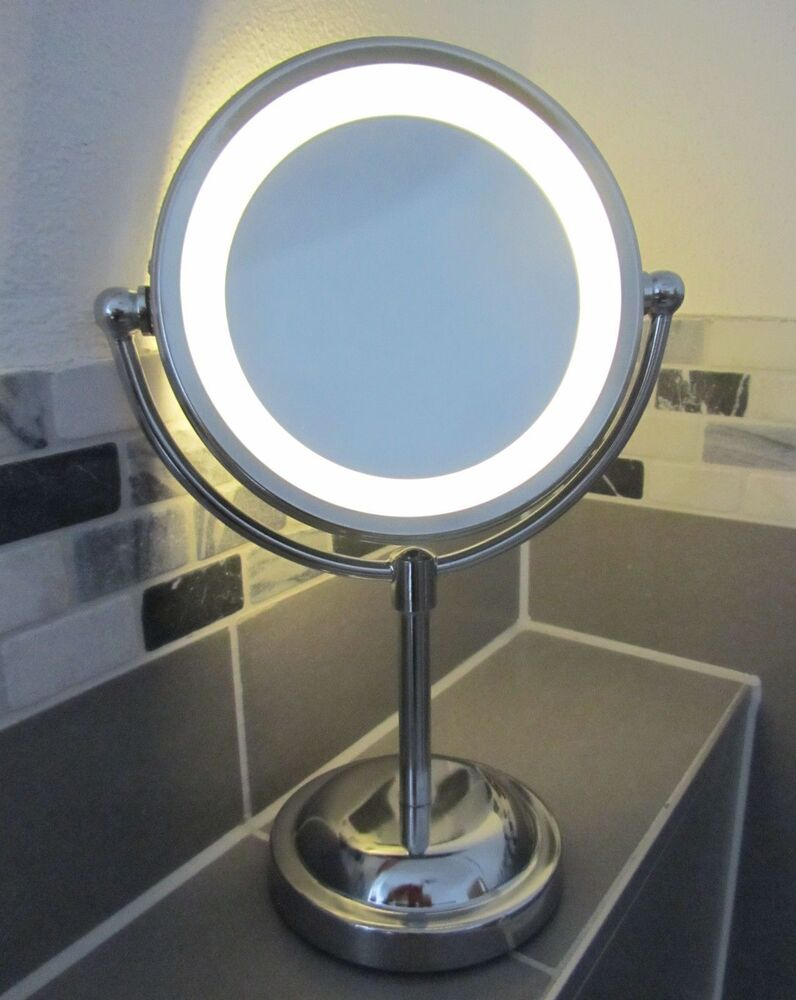 5 x magnifying round led illuminated bathroom make up cosmetic shaving mirror ebay. Black Bedroom Furniture Sets. Home Design Ideas