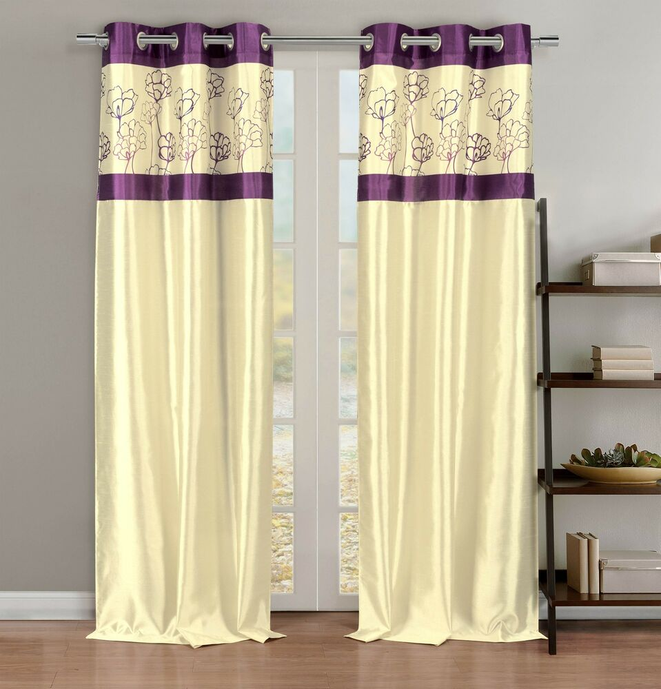 Silky 2 Window Curtain Panels With Grommets Linen