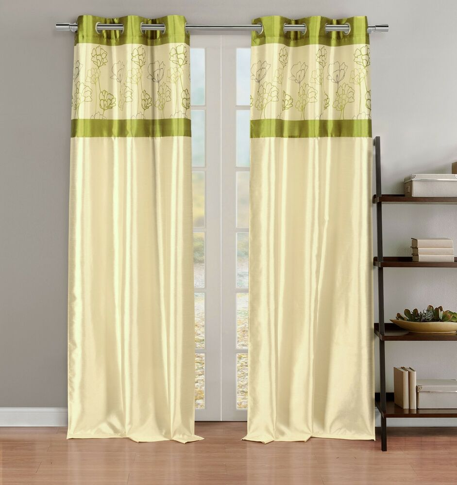 Silky 2 Window Curtain Panels With Grommets Linen Lime Green Floral Design Ebay