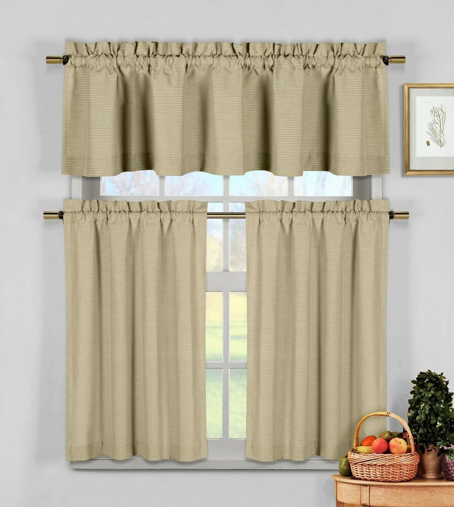 Taupe 3 pc kitchen window curtain set natural cotton for Valance curtains for kitchen