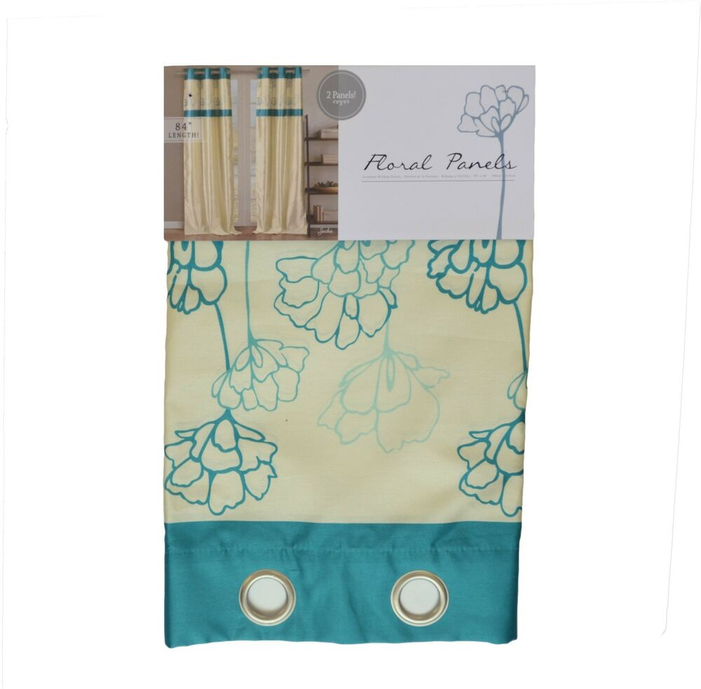 Silky 2 Window Curtain Panels With Grommets Blue Floral