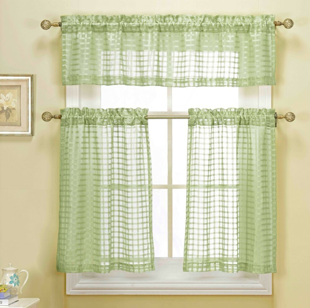3 piece green sheer kitchen curtain set woven check design 1 valance 2 tiers ebay. Black Bedroom Furniture Sets. Home Design Ideas