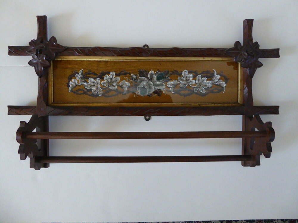 Victorian Walnut Wall Towel Rack With Framed Embroidery