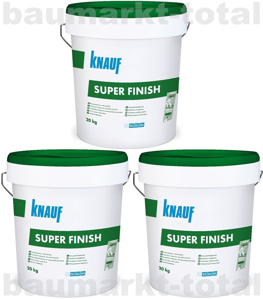 knauf super finish 3x20kg spachtelmasse f r trockenbau sheetrock fugenspachtel ebay. Black Bedroom Furniture Sets. Home Design Ideas