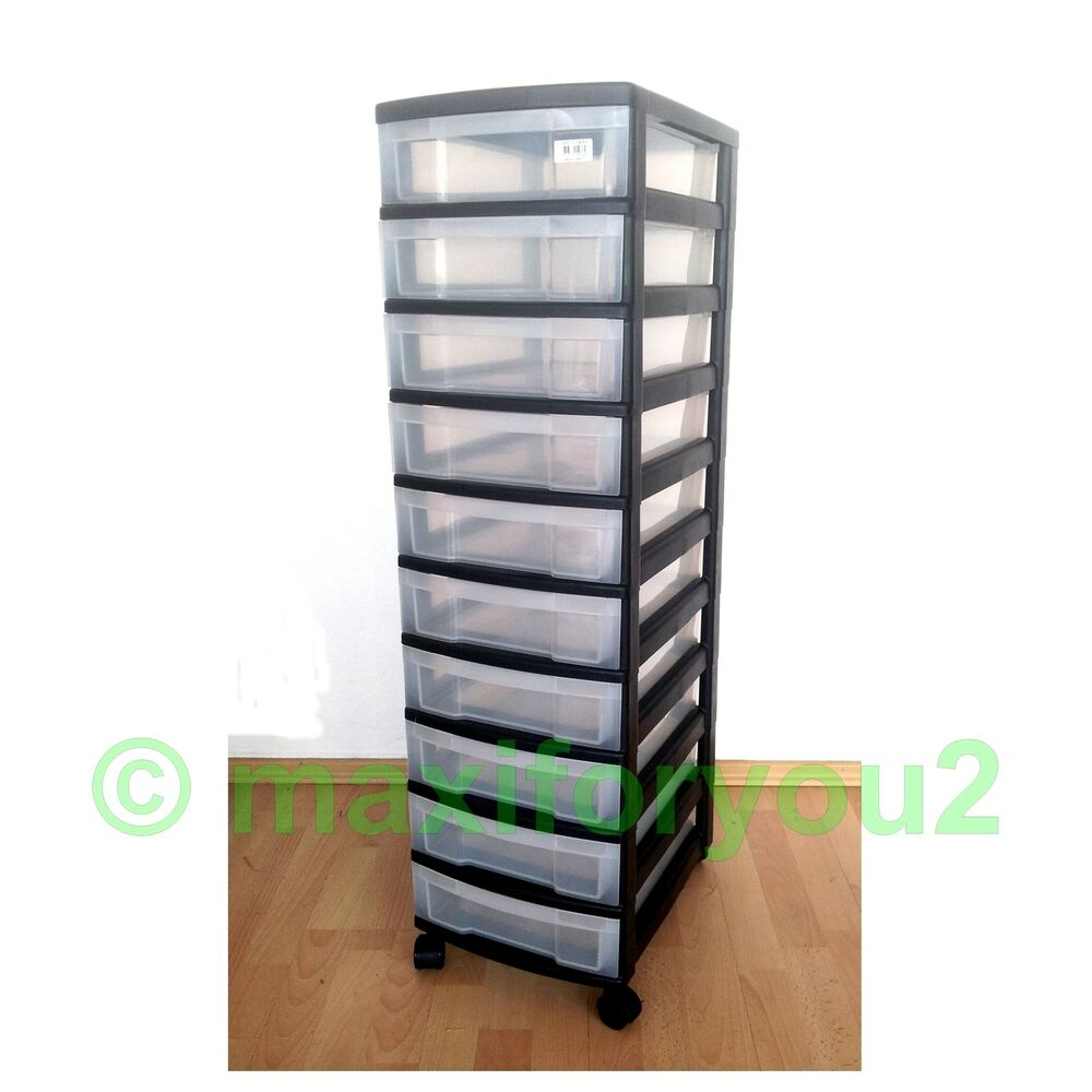 rollcontainer rollwagen schubladenschrank b roschrank mit 10 schubladen ebay. Black Bedroom Furniture Sets. Home Design Ideas