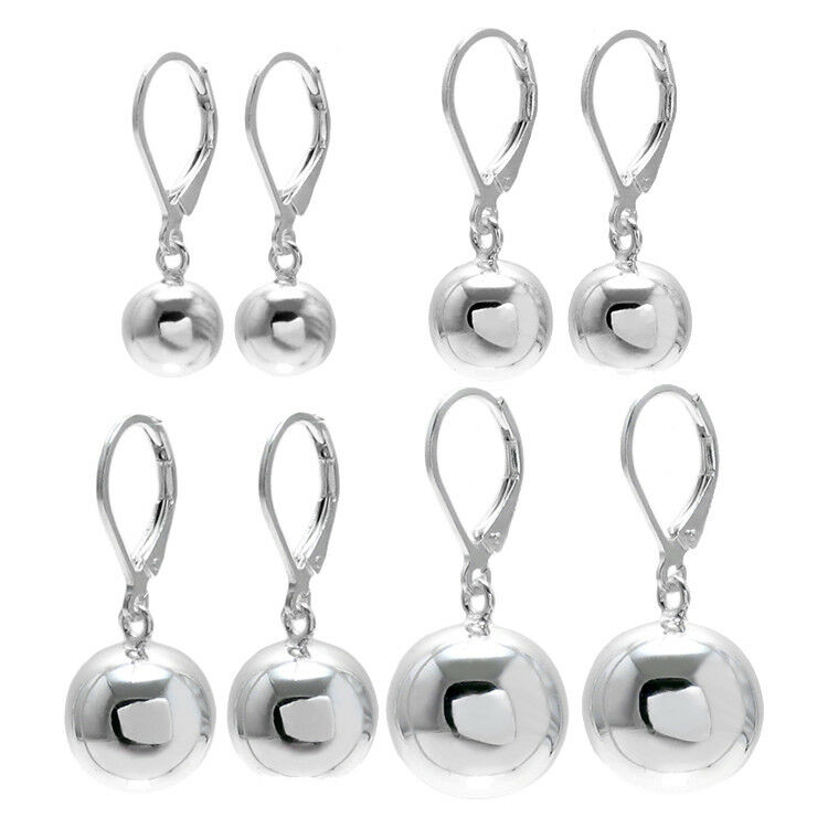 925 Sterling Silver Ball Drop Earrings With Lever Back 4