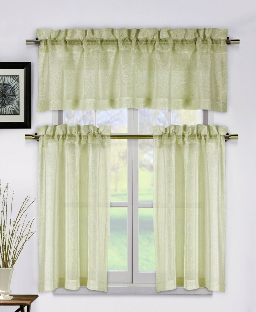 Metallic taupe 3 piece kitchen window curtain set 1 valance 2 tier panels ebay Bathroom valances for windows