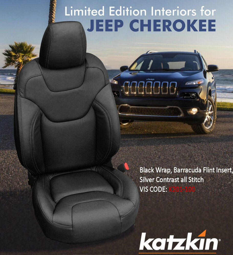 Katzkin Black Barracuda Leather Seat Cvrs Fit 2014 2017 Jeep Cherokee Latitude Ebay