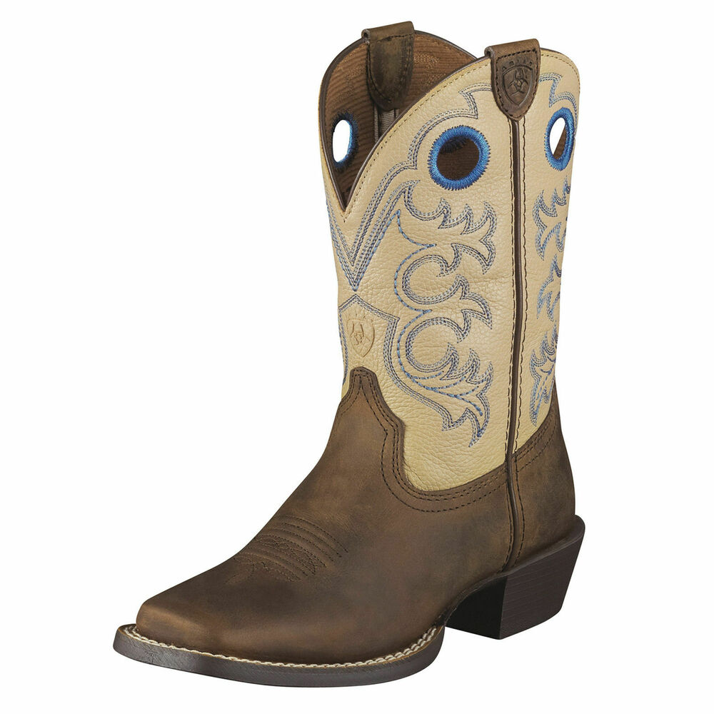 Ariat Kid's Boys Crossfire Boot Distressed Brown Cowboy ...