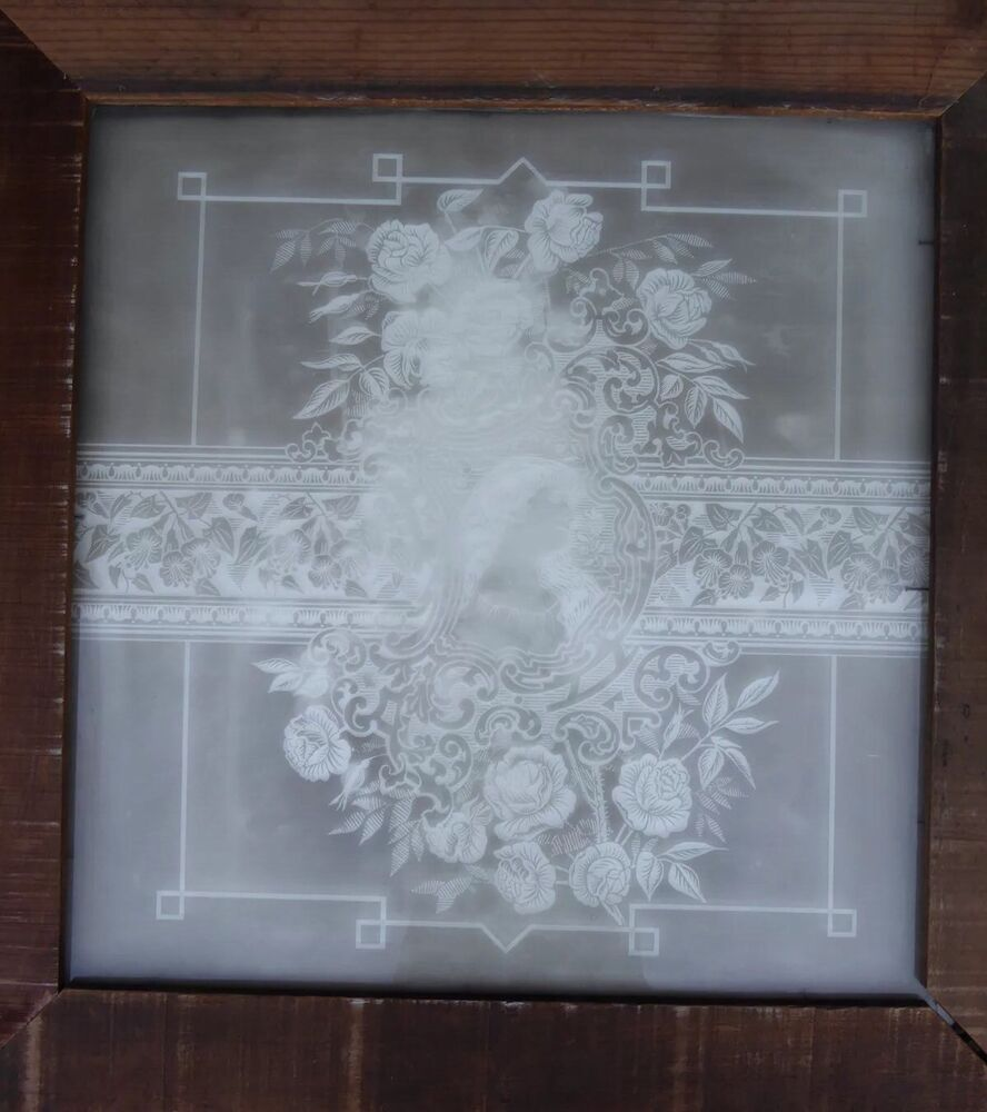 Victorian Antique Vintage Etched Glass Window Circa