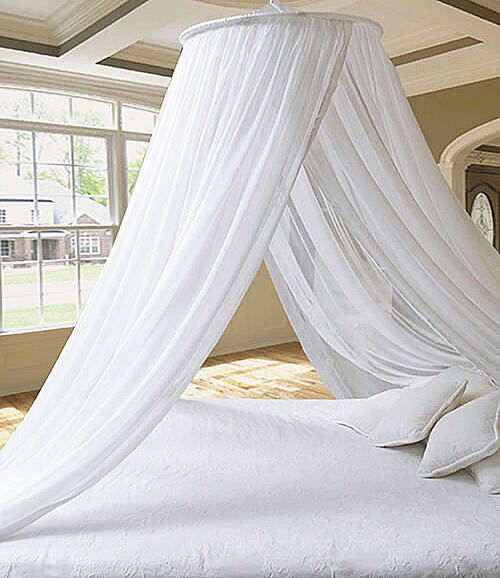 Stunning dreamma white round bed canopy mosquito net for Bed decoration with net