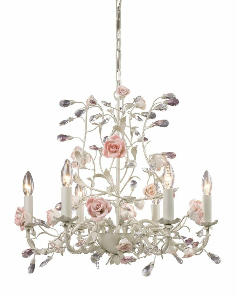 French Country Cottage Rose Porcelain Chandelier Vintage