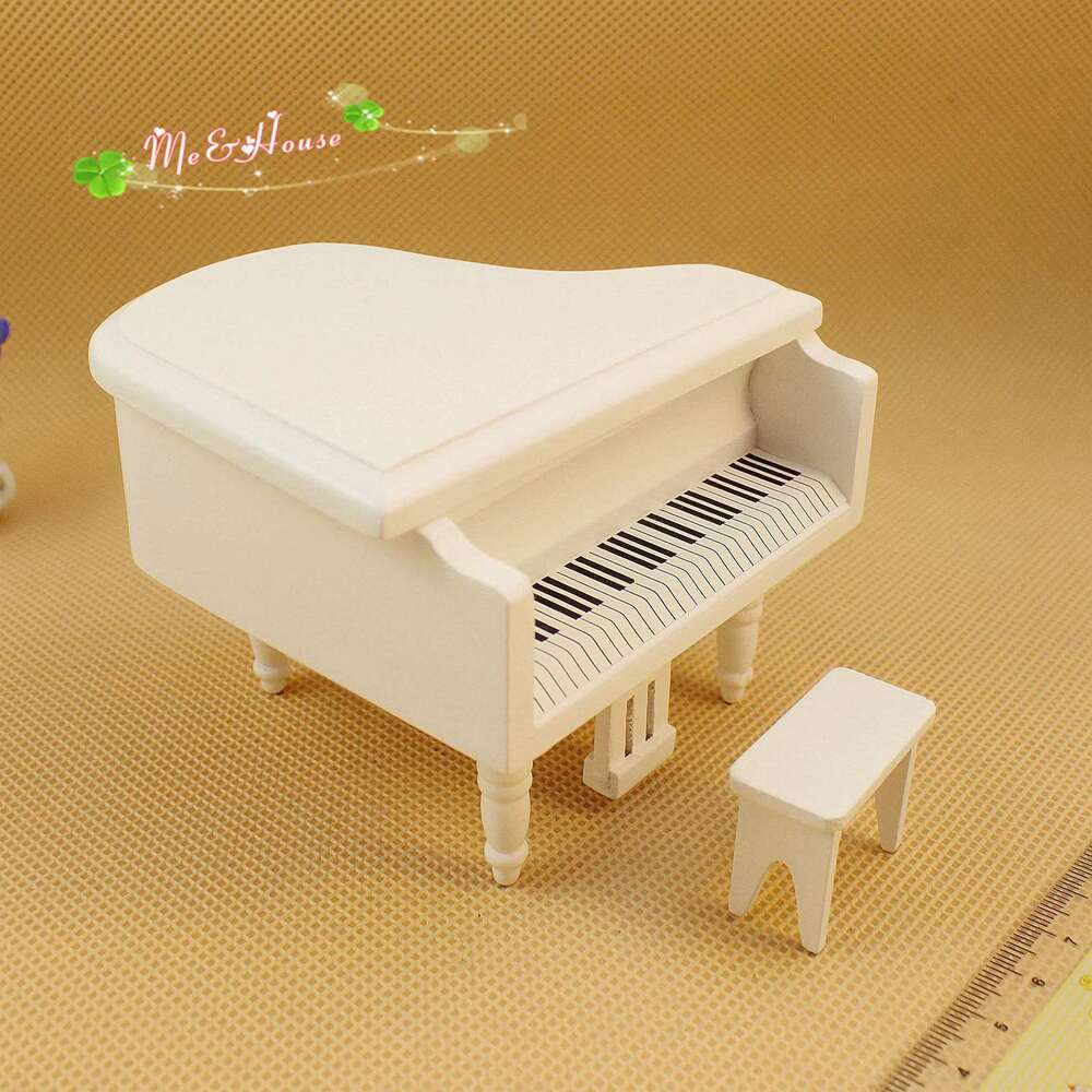 ... Miniature White Wooden Piano with Stool Toy Music Room | eBay
