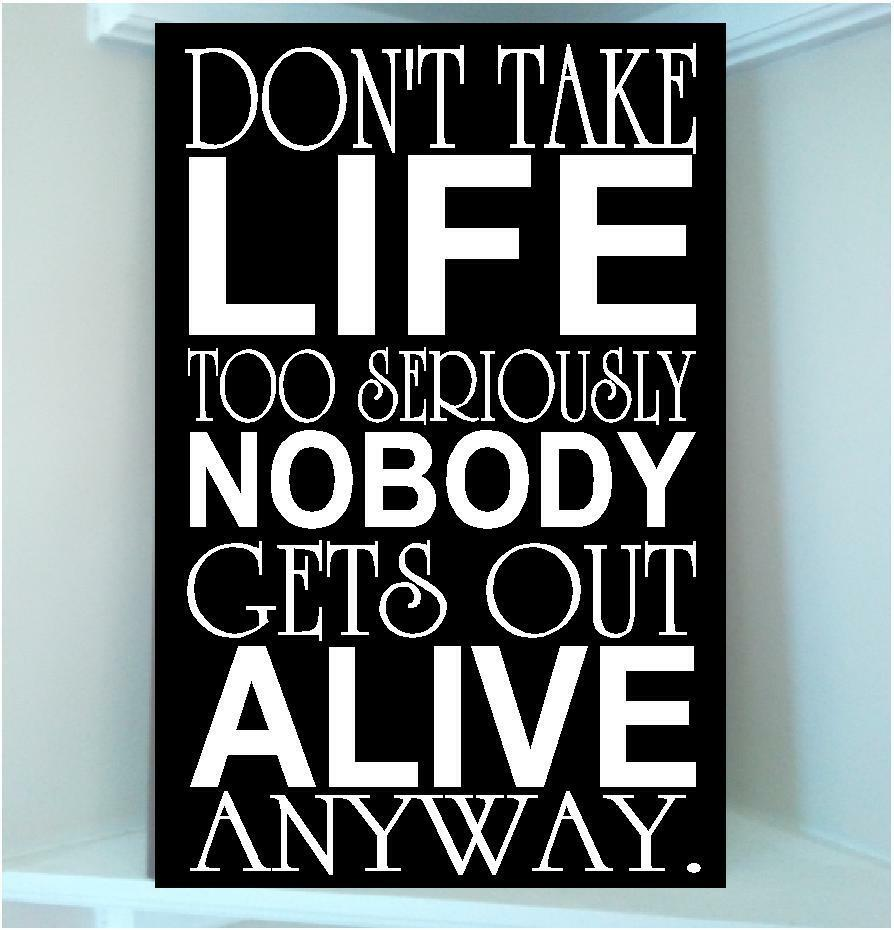 Quotes About Taking Life Too Seriously: Wooden Sign W Vinyl Quote Dont Take Life Too Seriously