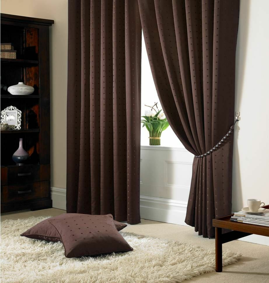 JACQUARD CHECK BROWN LINED PENCIL PLEAT CURTAINS DRAPES *9