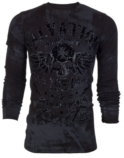 Archaic affliction mens thermal t shirt black tide skull for Mens affliction t shirts