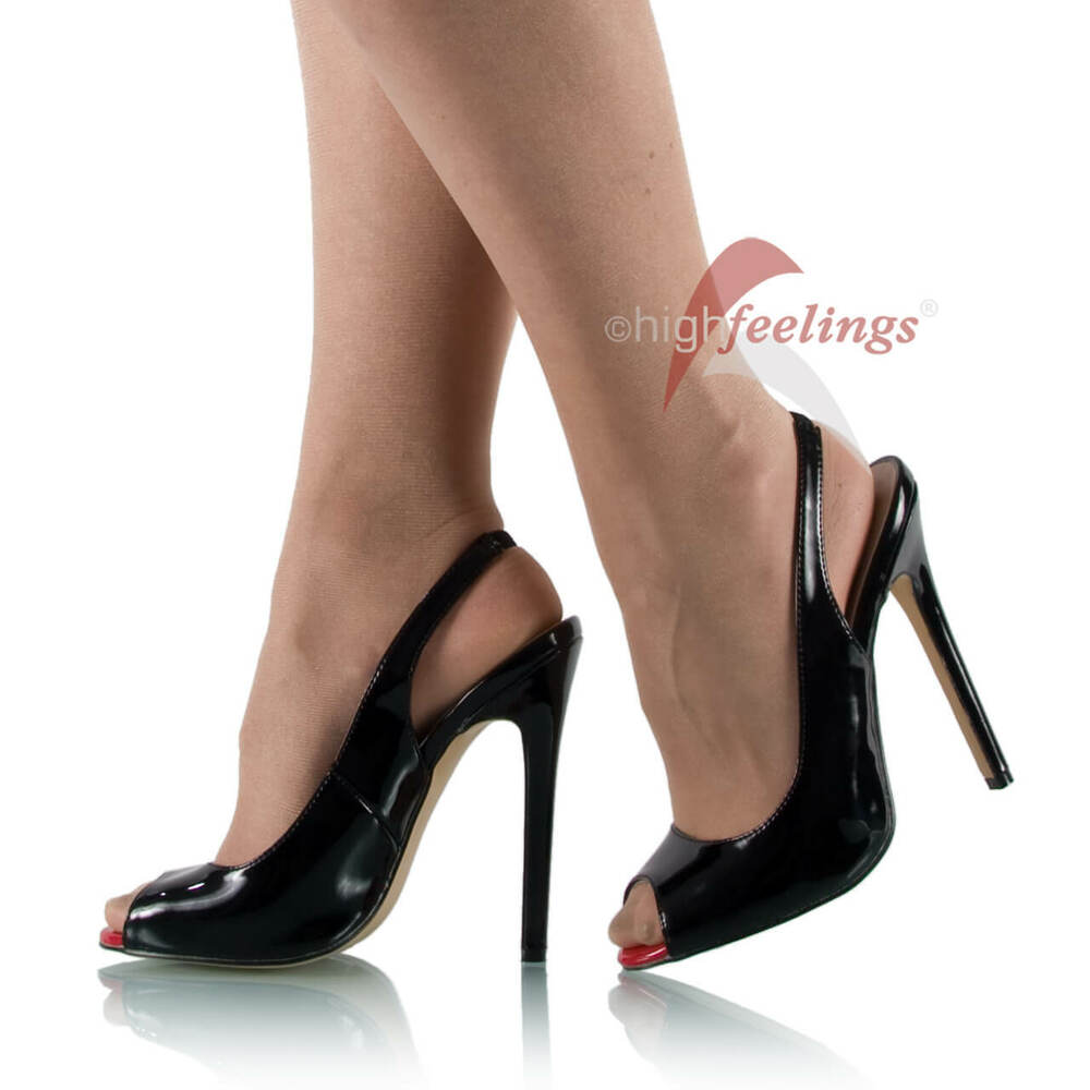 high heels slingpumps peeptoe schwarz lack 13 15 cm. Black Bedroom Furniture Sets. Home Design Ideas