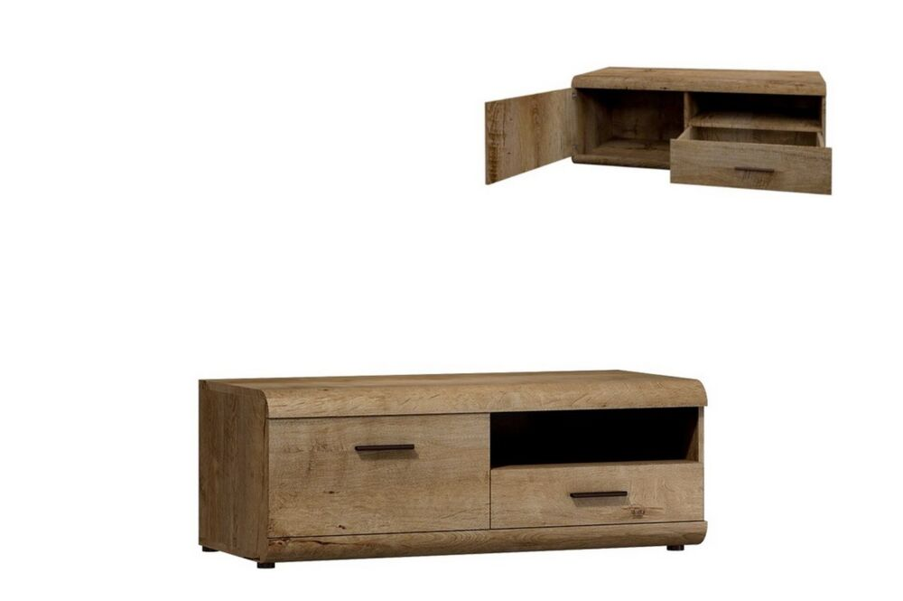 tv schrank lena lowboard unterschrank in lefkas eiche ebay. Black Bedroom Furniture Sets. Home Design Ideas