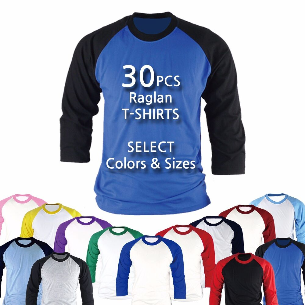 f9c95ae0bf8 Details about 30PCS Raglan Baseball Blank T-shirts Tops Custom Team Uniform Wholesale  Bulk LOT