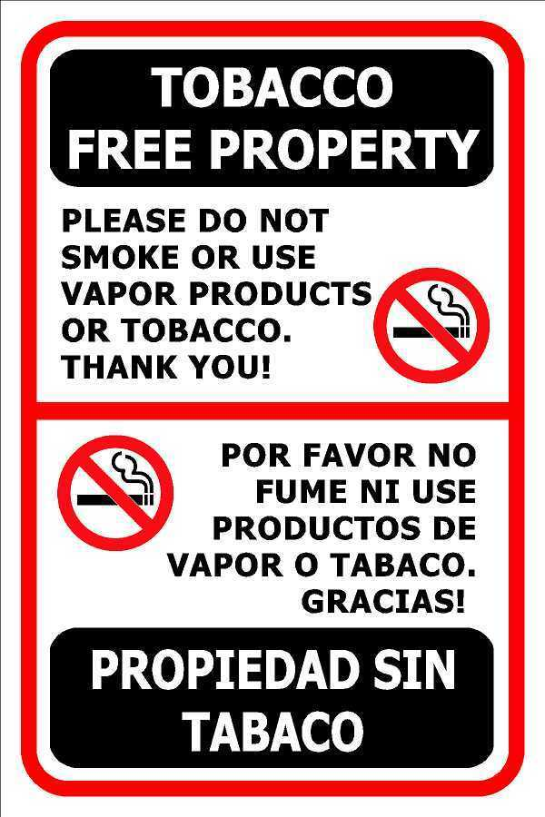No Smoking Vapor Tobacco Signs Vinyl Sticker Decal Spanish