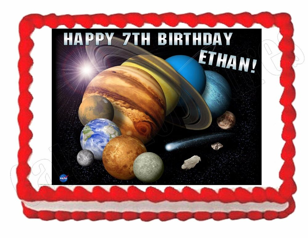 Solar system planets outer space edible image party cake topper decoration ebay - Solar system decorations ...