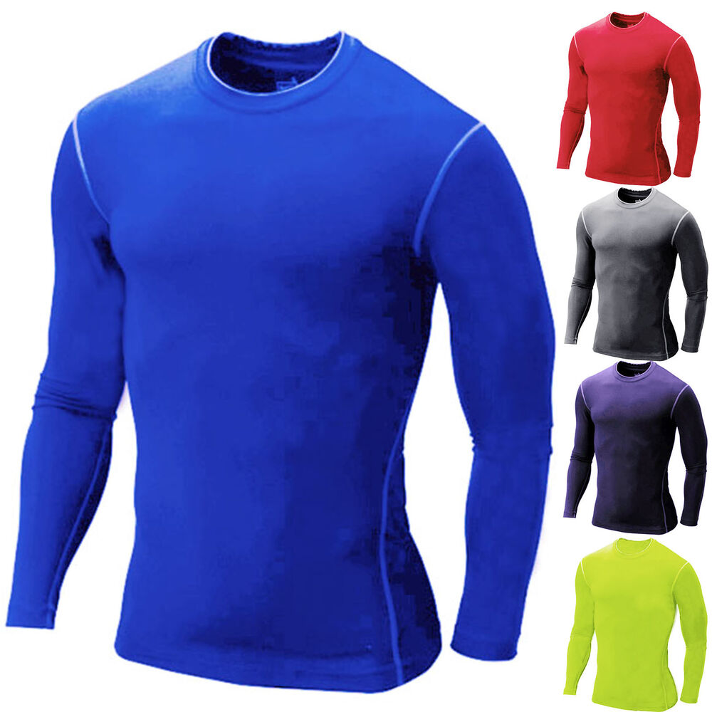 Mens long sleeve body compression athletic fit stretch t for Compression tee shirts for men