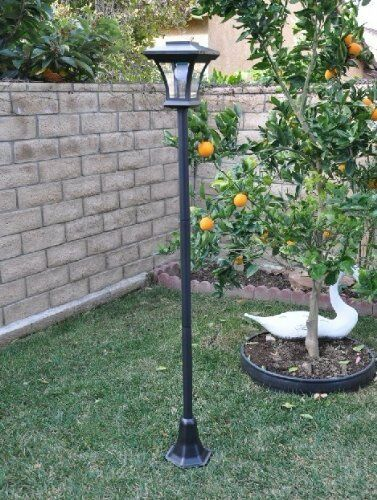 new 67 solar powered lamp post light with bright led bulb garden. Black Bedroom Furniture Sets. Home Design Ideas