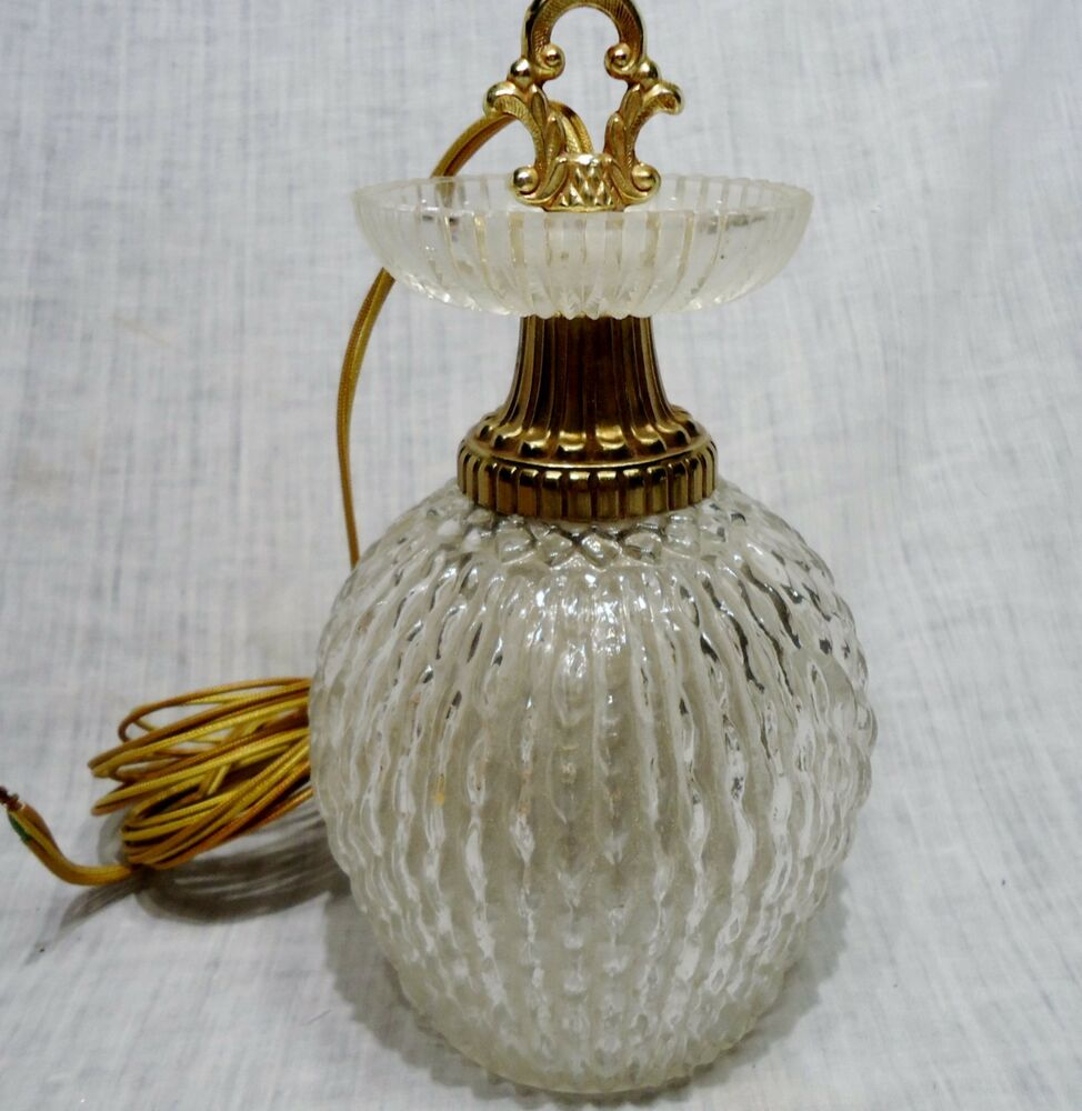 vintage hanging globe lamp fixture brass glass like crystal bumpy pattern ebay. Black Bedroom Furniture Sets. Home Design Ideas