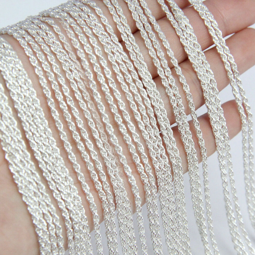 In Bulk 10pcs Silver Twist Cable Rope Chain Necklace 16 24