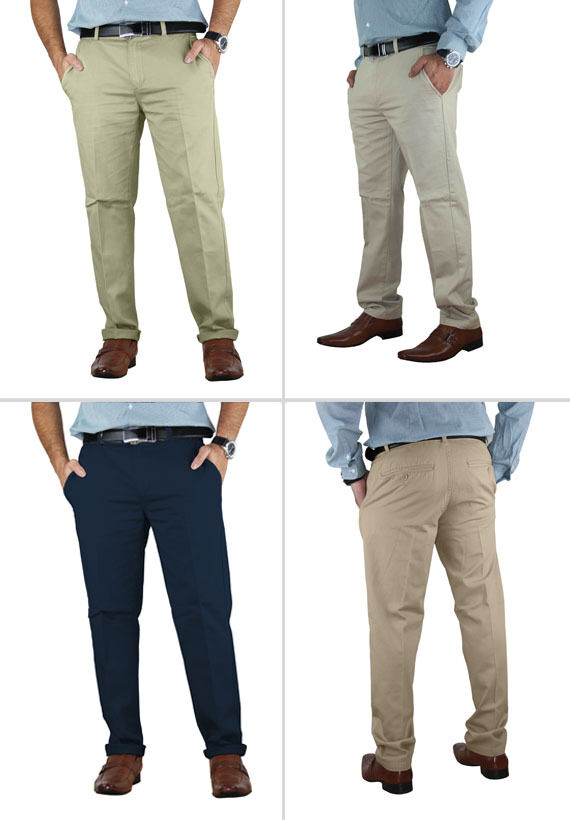 Casual Mens Chino Jeans Cotton Pants Slim Fit Straight Leg ...