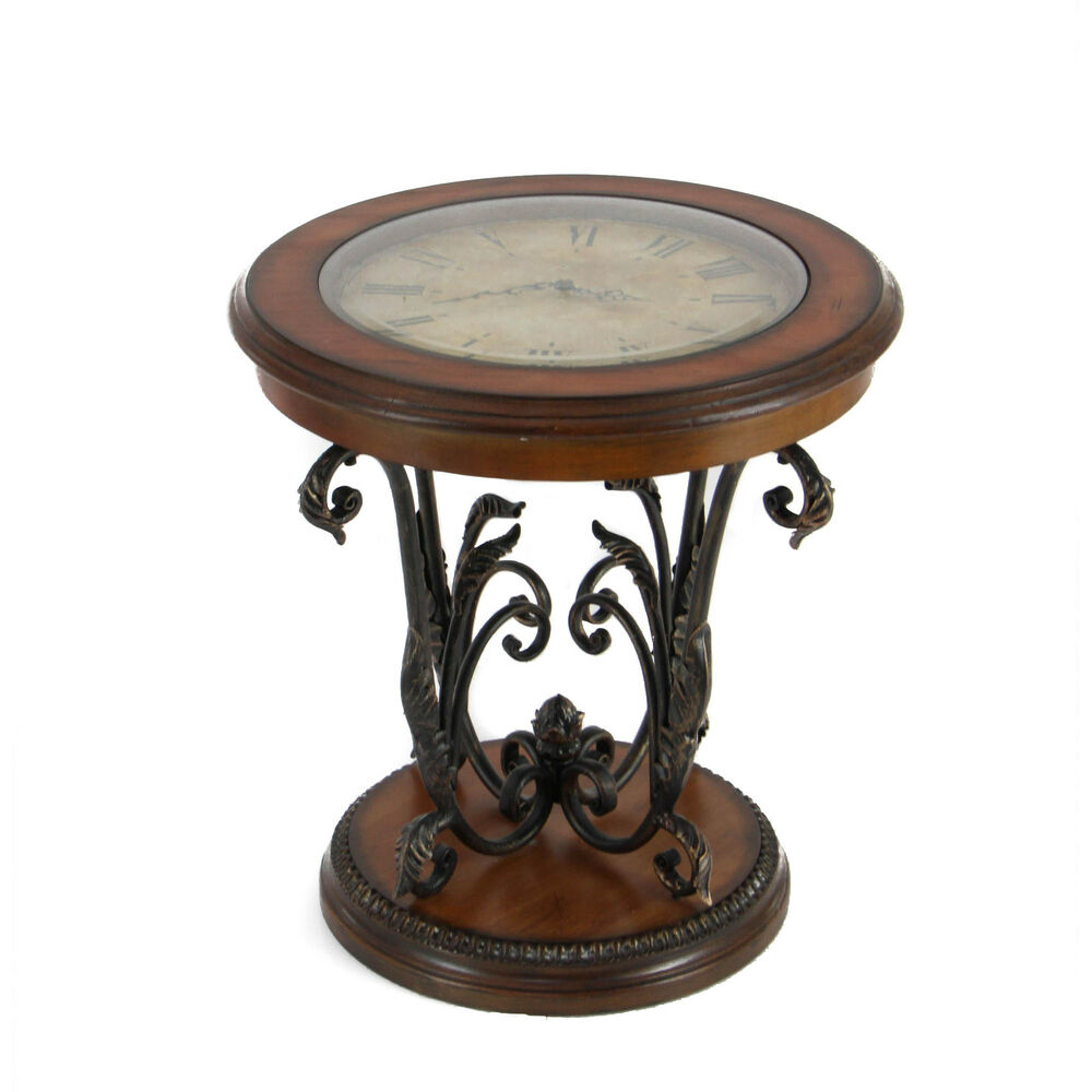 casa cortes designer round clock coffee end table ebay. Black Bedroom Furniture Sets. Home Design Ideas