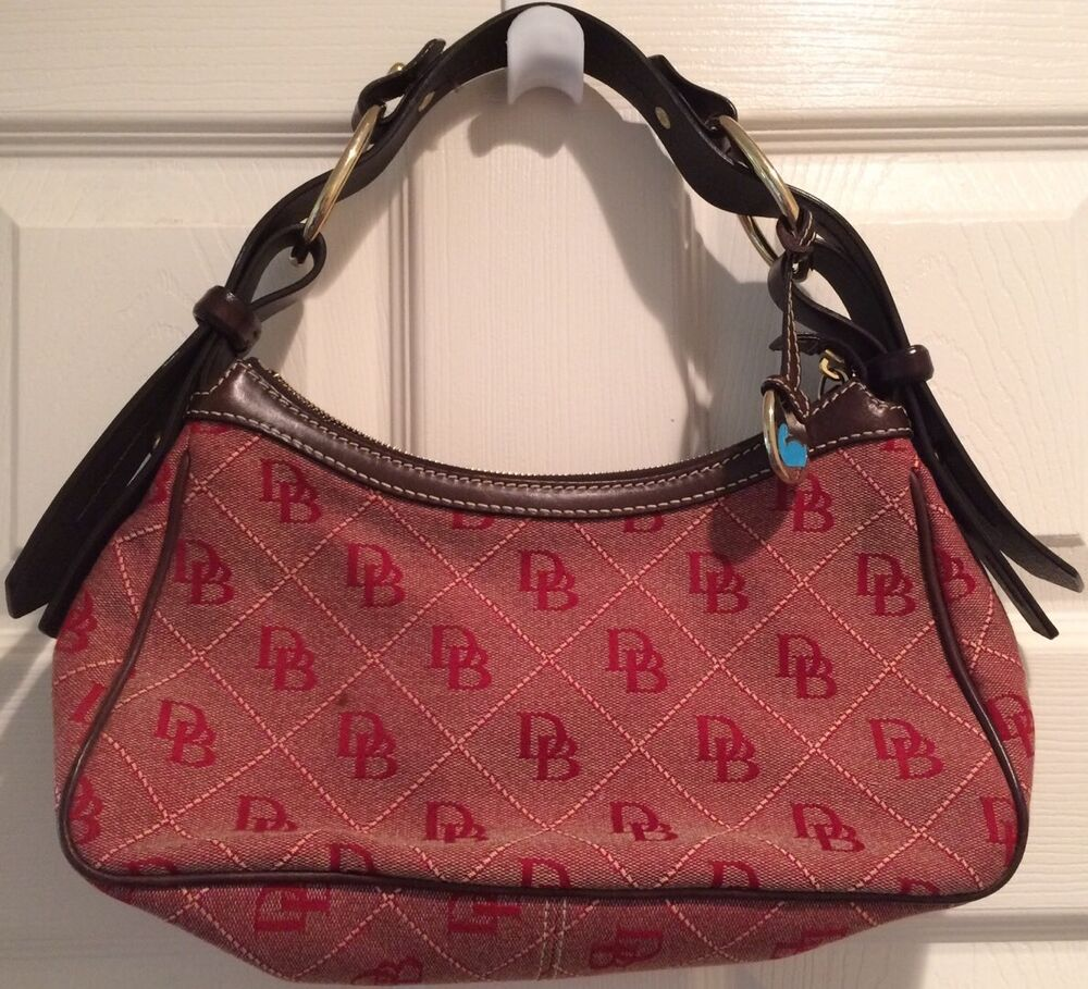 New Auth Dooney Amp Bourke Leather Red Brown Canvas Logo Shoulder Hand Bag Purse Ebay