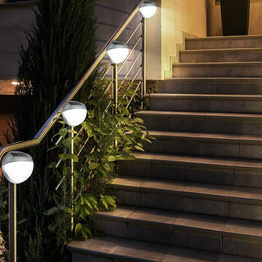 4er set led au en garten terrasse wand lampe zaun leuchte ip44 beleuchtung rund ebay. Black Bedroom Furniture Sets. Home Design Ideas