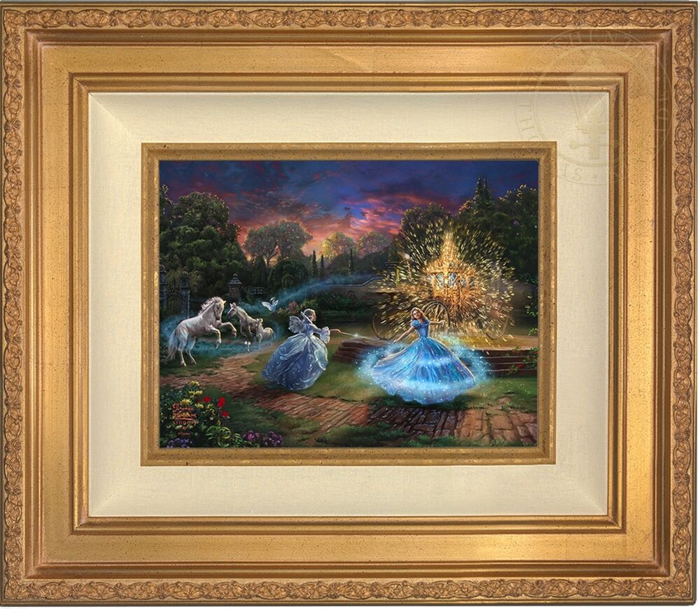 thomas kinkade cinderella wishes granted 9 x 12 le s n canvas gold frame ebay. Black Bedroom Furniture Sets. Home Design Ideas