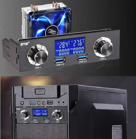 5 25 Quot Bay Usb 3 0 Lcd Front Panel Fan Speed Controller