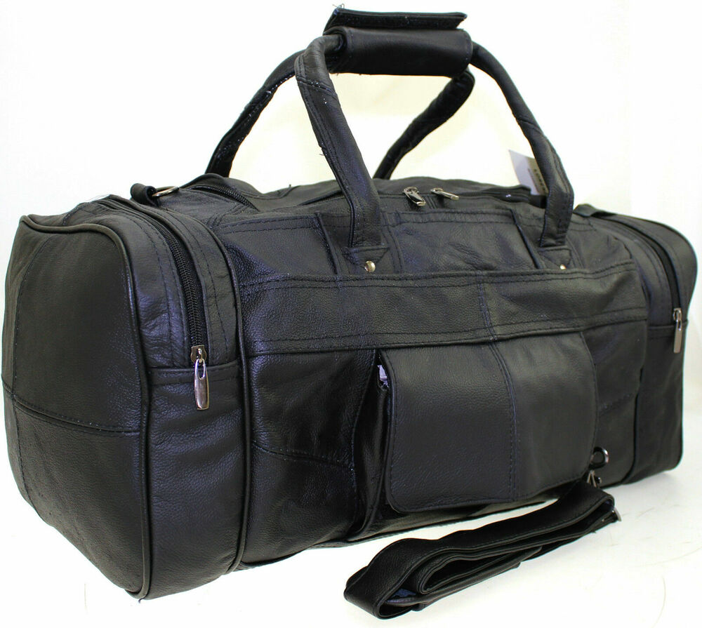 Large Genuine Leather Weekend Duffle Cabin Sports Holdall