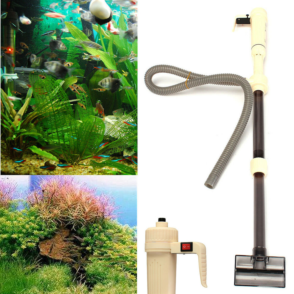 Aquarium battery syphon auto fish tank water vacuum gravel for Automatic fish tank cleaner
