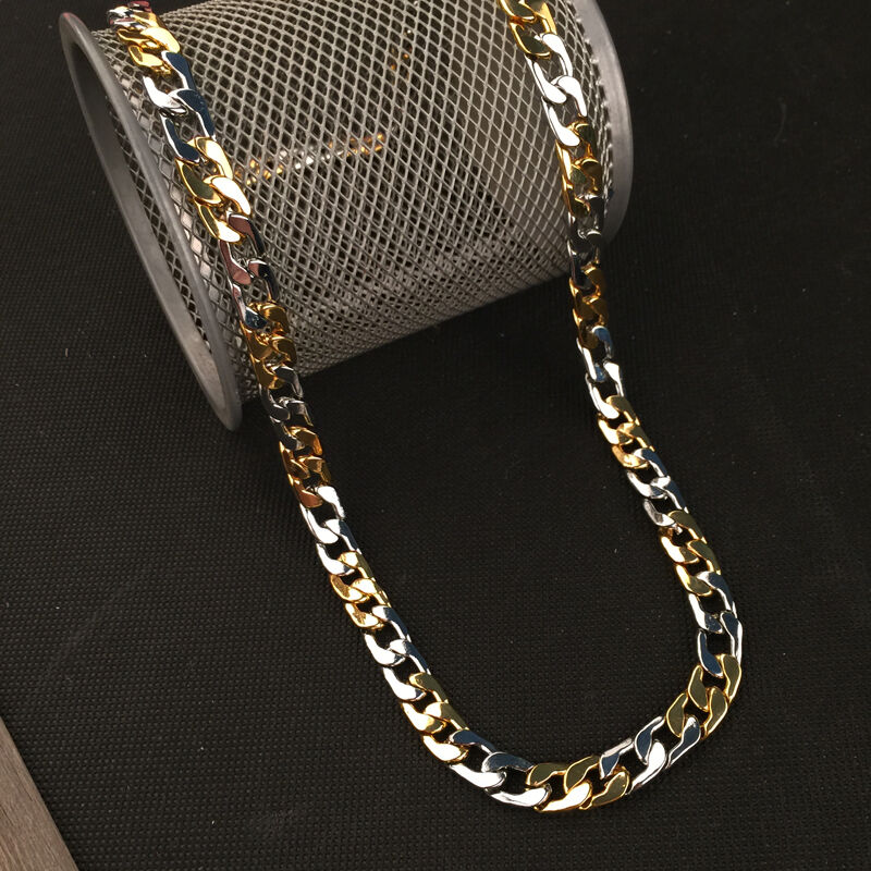 New Fashion Thick Mens Curb Chain Necklace Silver Gold ...