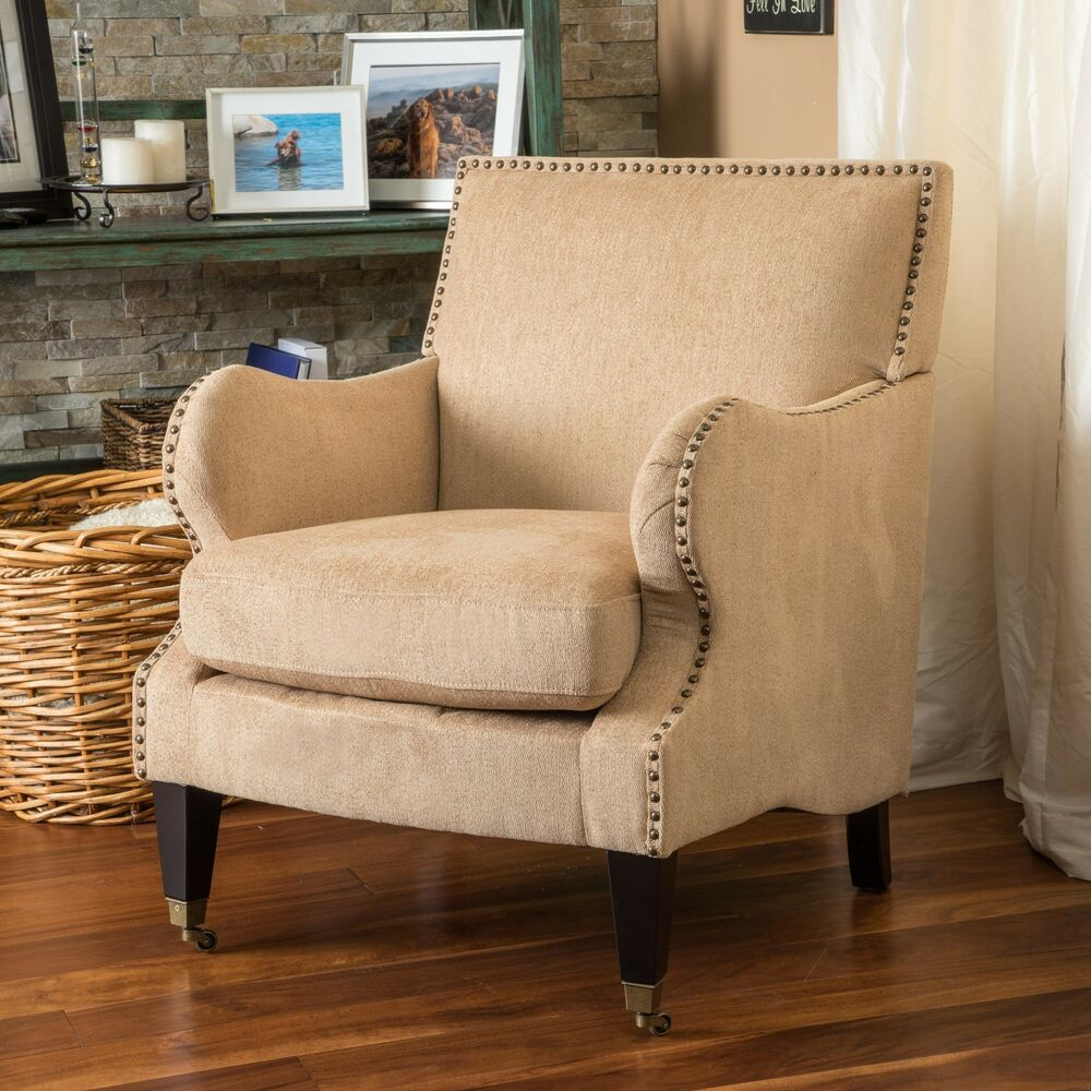 Living Room Furniture Fawn Soft Fabric Padded Club Chair W Nailhead Accent