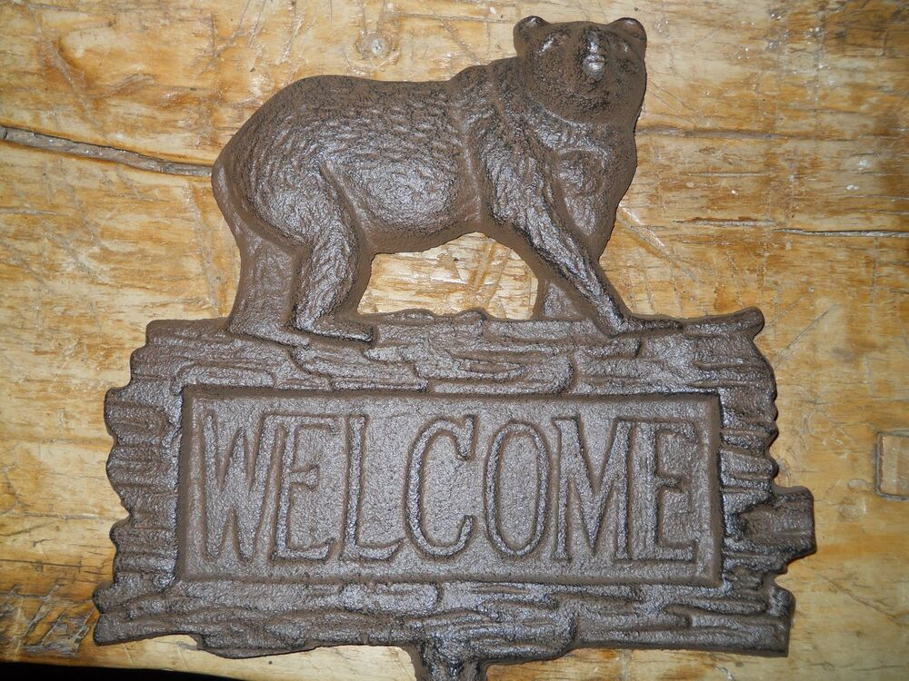 Cast iron bear welcome sign garden stake home decor for Rustic bear home decor
