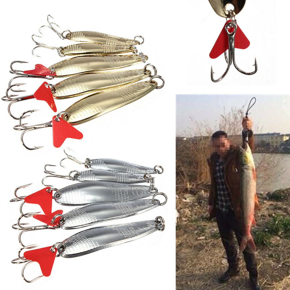 Metal fishing spoon lures spinner baits tackle treble for Spoon fishing for bass